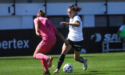 Florencia Bonsegundo en el partido entre Valencia y Real Madrid.