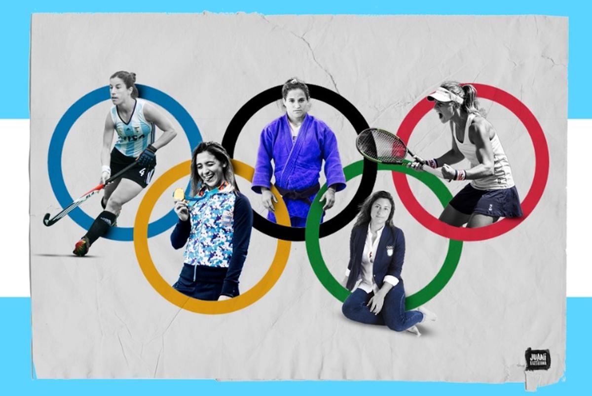 Cinco de las representantes locales en los próximos Juegos: Charo Luchetti, Delfina Pignatiello, Paula Pareto, Cecilia Carranza y Nadia Podoroska.