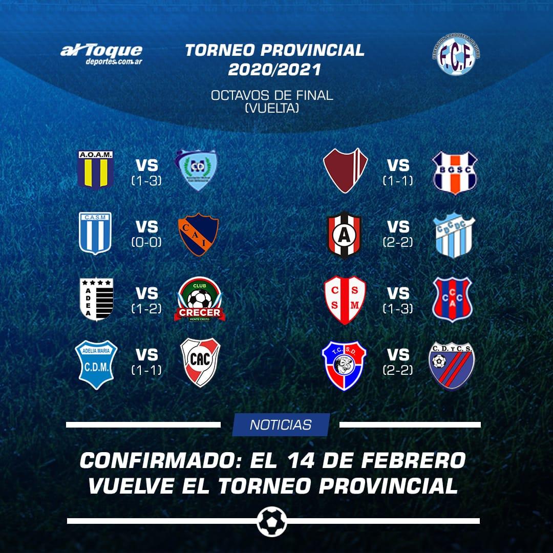 Vuelve el Torneo Provincial. Desde octavos de final y el próximo 14 de febrero 2021.