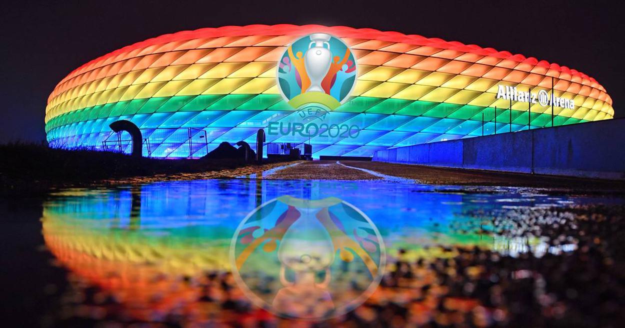 El Allianz Arena y una linda costumbre, iluminarse con los colores del orgullo.