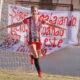 Leguizamon festeja su gol ante Banda Norte en el primer partido post parate.