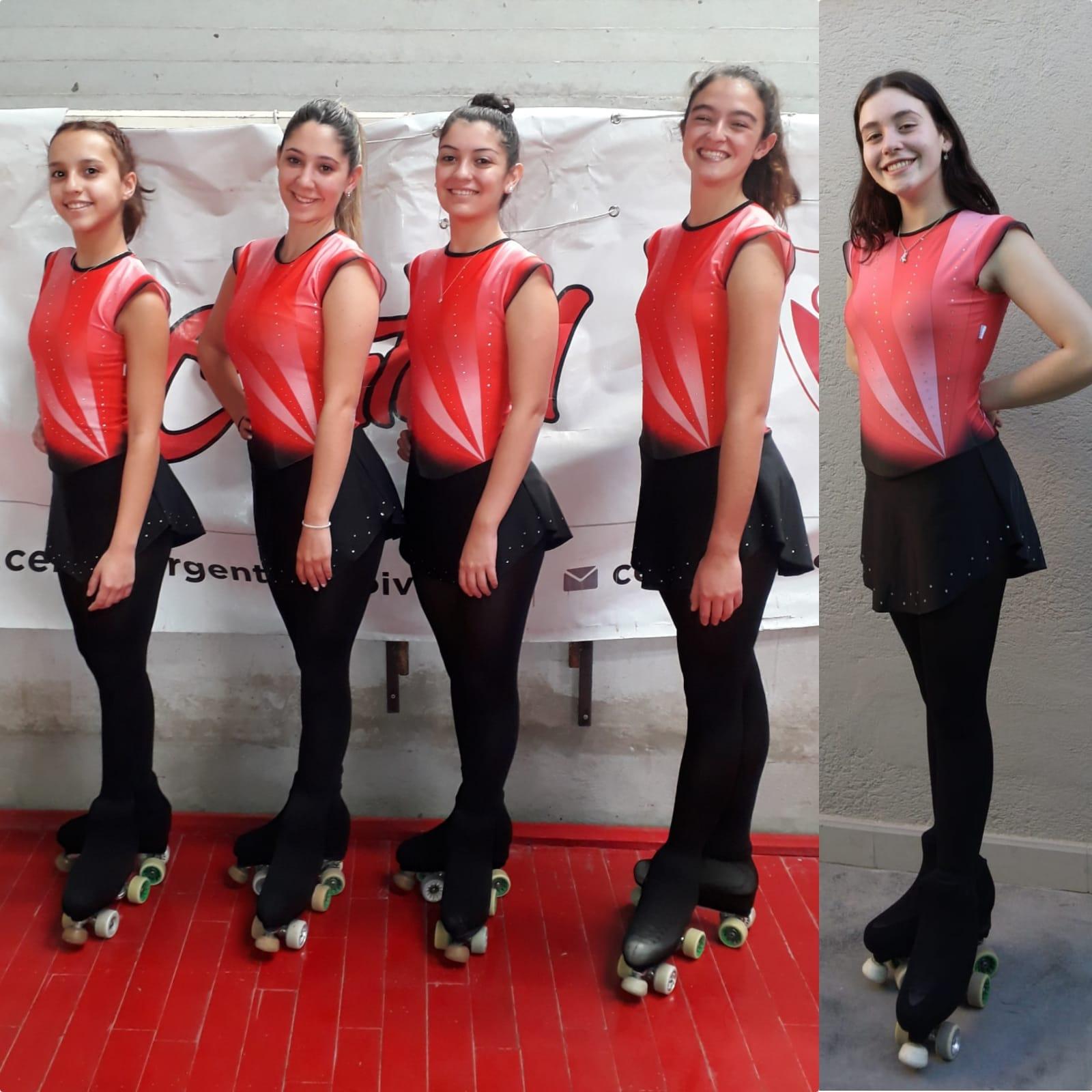 Las cinco patinadoras clasificadas de Central Argentino.